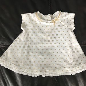 Catherine Malandrino White/Gold 0-3M Dress